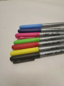 Lot Of 7 Bic Mark It Permanent Colored Markers R