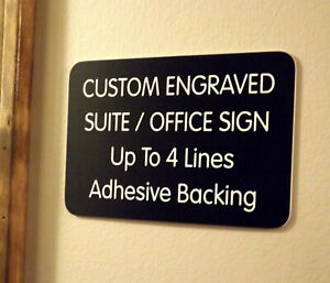 Custom Engraved Black 4x6 Office Suite Sign Small Business Wall Door Plaque