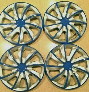 14 Wheel Covers Hubcaps Universal Wheel Rim Cover 4 Pieces Set Silver Blue