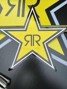 3 Large 12 Authentic Rockstar Rounded Edges Sticker Decal Sign Logo Moto Racing