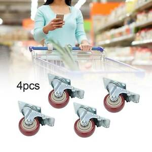 4 Pack Heavy Duty 3 Inch Caster Polyurethane Wheels With Brake Swivel Top Plate