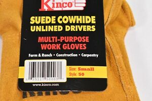 Kinco 50 Unlined Mens Suede Work Gloves Cowhide Driver Farm Small