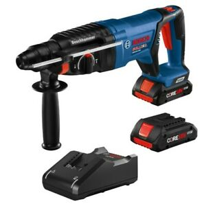Bosch 18v Brushless 1 Sds plus D handle Rotary Hammer With 2 4 0 Ah Batteries