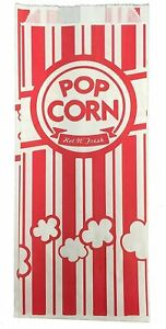 Carnival King Paper Popcorn Bags 1 Oz Red White 500 Pieces New