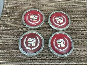 4 Matching Vintage Cadillac Wheel Center Caps 80s