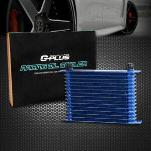 15 Row Powder Coated Aluminum Engine Transmission Racing 10 An Oil Cooler Blue