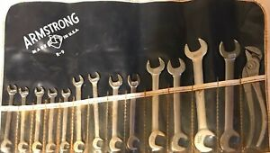 Vintage Armstrong 14pc Short Open End Angle Wrench Set R9 Made In Usa W Pouch