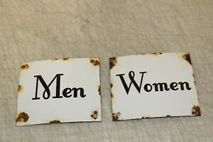 Vintage Style Women Men Restroom Signs Porcelain Enamel Gas Station Garage