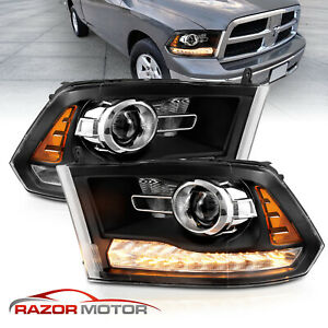 For 2009 2018 Dodge Ram 1500 2500 3500 Mist Black Led Tube Projector Headlights