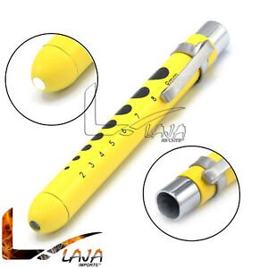 Light Yellow Medical Penlight Pupil Gauge Pocket Inspection Torch W Clip Pl 016