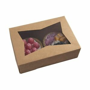 8inch Brown Cookie Boxes With Window small Auto popup Bakery Boxes For Muffin