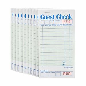 Stock Your Home Guest Check Book 10 Books 3 5 X 6 75 Server Note Pads And