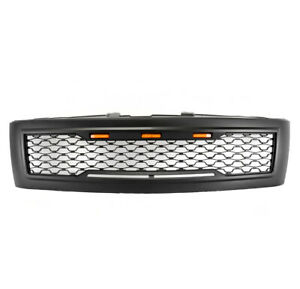 For 2007 2013 Chevy Silverado 1500 Pickup Black Hood Upper Grille Shell W light