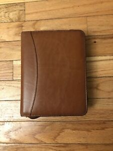 Franklin Quest Vintage Compact Zip Binder Full grain Aniline Leather Brown Euc