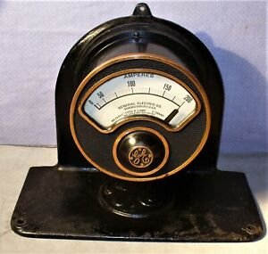 Rare Antique General Electric ge industrial Amp Meter On Iron Stand steampunk