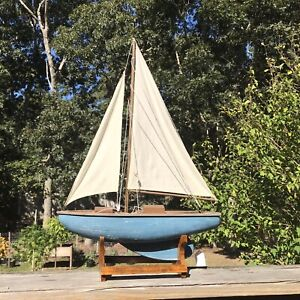 Vintage Wooden Toy Model Pond Yacht Sailboat Ship Nautical 17 1 2 With Stand