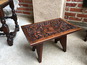 Petite Antique English Carved Oak Bench Foot Stool Display Kettle Stand 1897