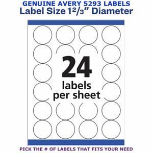 Avery High visibility Laser 1 2 3 Round Labels 5293 Pick Your Own Of Label