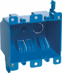 Carlon 3 15 16 In Rectangle Pvc 2 Gang Outlet Box Blue