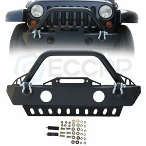 Powder Coat Steel Front Winch Bumper More Tire Clearance For Jeep Wrangler 07 18