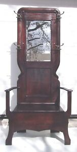 Antique Oak Hall Seat Hall Tree Old Finish And Hat Hooks Selling Out Make Offer