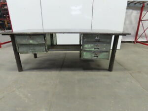 1 Thick Top Steel Fabrication Welding Table Work Bench 96 x48 x34 W drawers