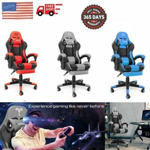 Furgle Gaming Office Chair Computer Chairs Pu Leather Seat Executive Footrest