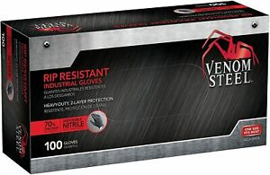 Venom Steel Heavy duty Rip Resistant 2 Layer Nitrile Gloves Black 100 Gloves
