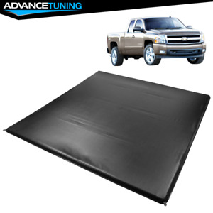 Fits 07 13 Sierra 1500 2500hd 3500hd 6 5 Ft Truck Bed 4 Fold Led Tonneau Cover