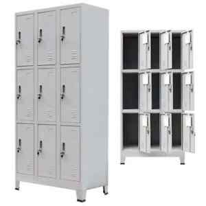 Metal Locker Cabinet Mirror Storage School Gym Office Staff Wardrobe 9 Doors New