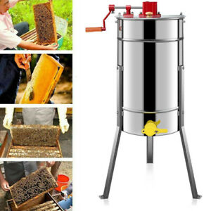 4 Frame Honey Extractor Stainless Steel Large Manual Silver Beekeeping Equipment
