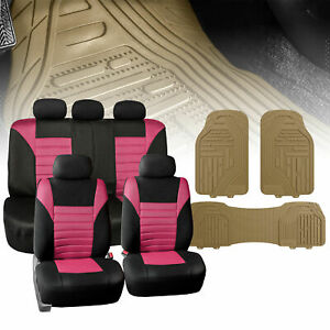 Pink Mesh Car Seat Covers Full Set With Beige Floor Mats Heavy Duty