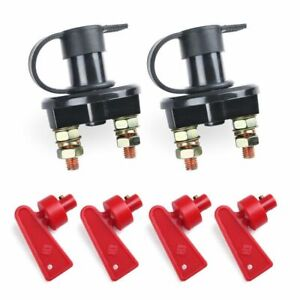 2pcs Auto Car Battery Disconnect Switch Brass Terminals Safety Boat Kill Cut off