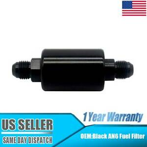 Universal Inline Fuel Filter High Flow 100 Micron Cleanable An6 6an Black