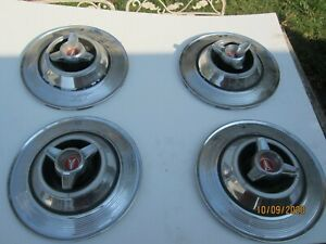 Vintage 1960s Plymouth Fury Set Of 4 Spinner Hubcaps 14 Inch 2409934