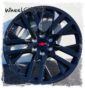 22 Inch Gloss Black 2021 Chevy Silverado 1500 Rst Oe Replica Red Rims 6x5 5 28