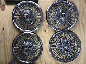 Vintage Ford Mustang Galaxie Fairlane 14 Hubcaps Wire Wheel Covers Spinners