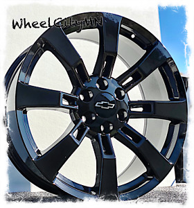 22 Inch Gloss Black Ck375 Oe Replica Wheels 2013 Chevy Suburban Tahoe 6x5 5 31
