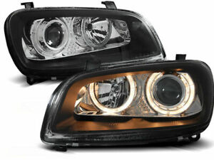 Pair Of Headlight New Black Angel Eyes Lens For Toyota Rav4 94 00