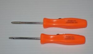 New Snap On Pocket Screwdrivers Set Orange Mini Phillips Flat Blade New