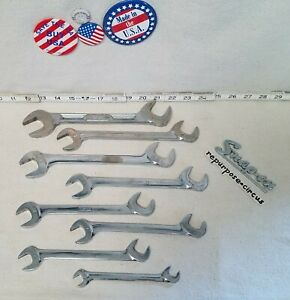 Snap On Tools Usa 8 Pc Sae Four Way Angle Head Open End Wrench Set 1 7 16