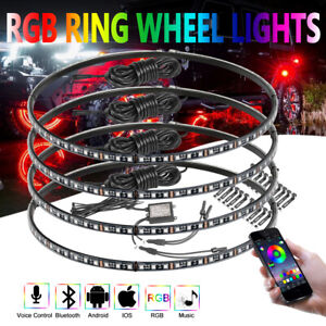 15 5 Led Wheel Ring Lights Rgb Color Chasing Music Bluetooth Turn Brake X4