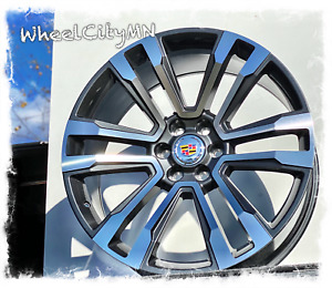 24 Inch Hyper Black Machine Cadillac Escalade Oe Replica Rims Platinum 6x5 5 24