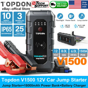 12v Automotive Car Jump Starter Battery Charger Booster Tester Power Bank 1500a
