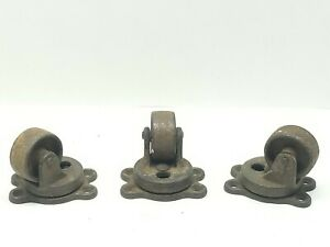 Antique Set Of 4 Payson No 183 Casters Industrial Wheels Swivel Salvage