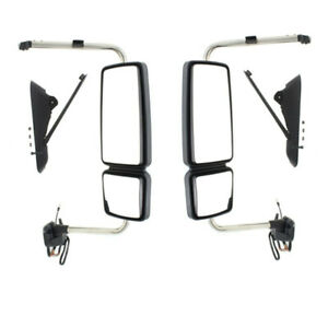 08 17 Workstar durastar Hd Truck Mirror Power Heated W signal Chrome Set Pair