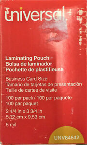 Universal 84642 Clear Laminating Pouches 5 Mil 2 1 4 X 3 3 4 100 box