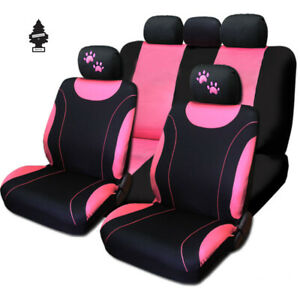 For Bmw New Flat Cloth Car Seat Covers Black And Pink Paw Headrest Cover