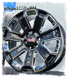 22 Inch Gloss Black Chrome Inserts Gmc Yukon Denali Oe Replica Wheels 6x5 5 24