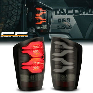 For 16 20 Toyota Tacoma Alpharex Black Smoked Lens Led Neon Tube Tail Light Set